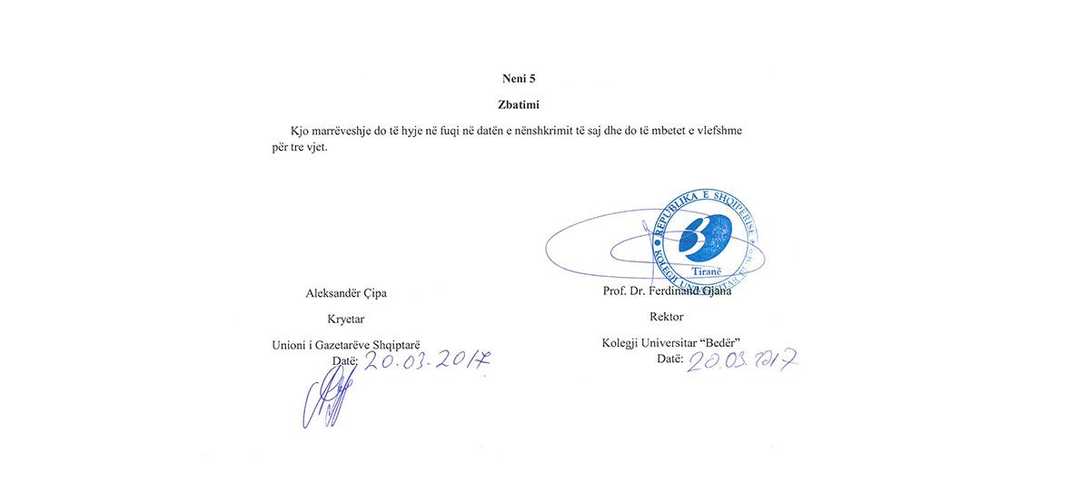 Cooperation agreement with the Union of Albanian Journalists
