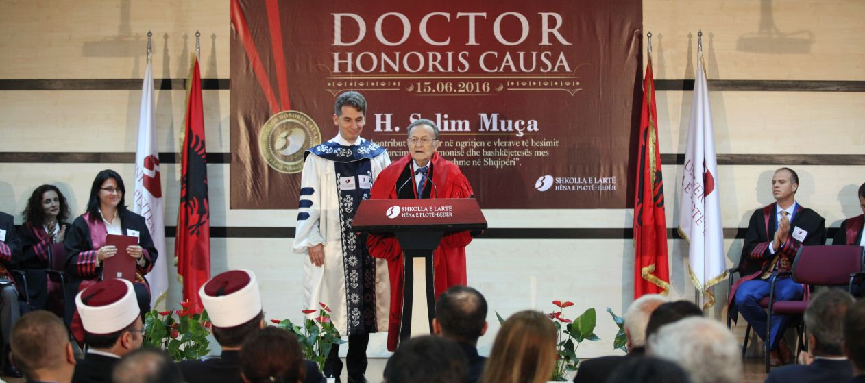"Bedër Awards Mr. H. Selim MUÇA with the Title ""Doctor Honoris Causa"", Honorary Chairman of the Muslim Community of Albania"