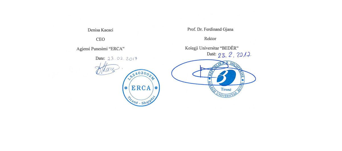 Cooperation agreement between Beder, AIESEC Albania and ERCA employment agency