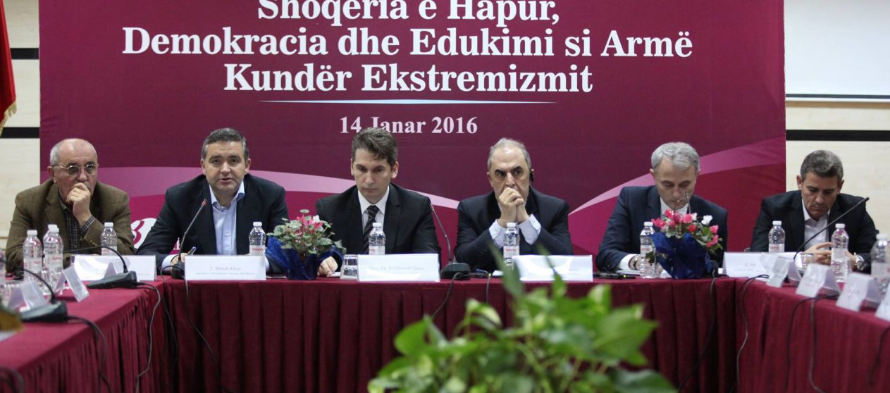 "The discussion panel ""The open society, democracy and education as means to fight extremism"""