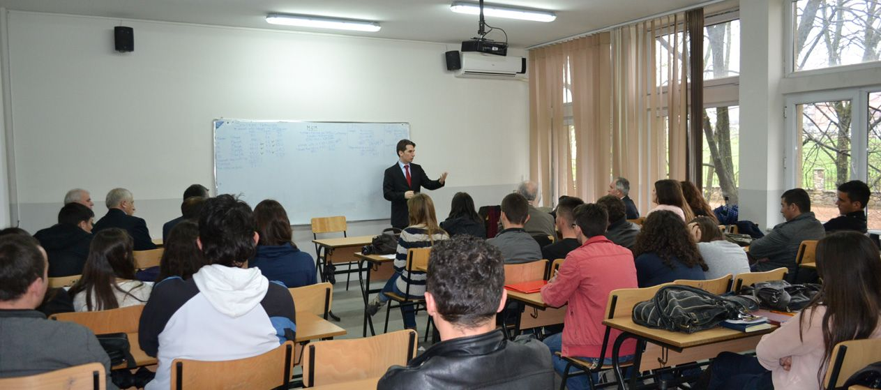 Dr. Ferdinand Gjana, Lecturing to Students of the University of Prizren